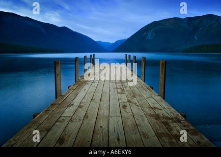 Jetty at Lake Rotoiti near St Arnaud Nelson Lakes district South Island New Zealand - Stock Photo