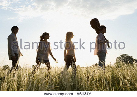 Friends walking - Stock Photo