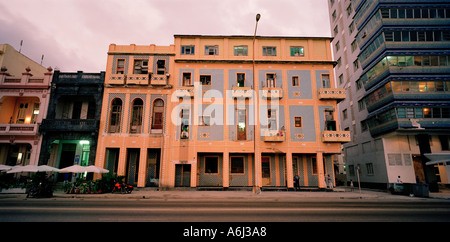 Cuban Architecture. Beautiful art deco buildings on the Malecon Havana in Cuba In Central America. Culture Travel - Stock Photo