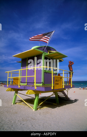 Lifeguard on lookout at station , South Beach - Stock Photo