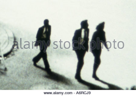 business people in silhouette walking (**** restriction: can not be used as book cover France literature/fiction/roman - Stock Photo