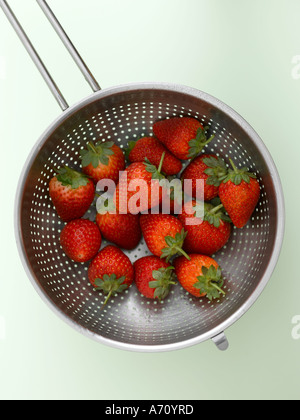 Strawberries in colander on pale green background - high end Hasselblad 61mb digital image - Stock Photo