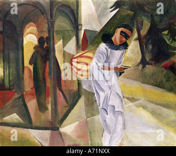 'fine arts, Macke, August, (1887 - 1914), painting, 'Pierrot', 1913, oil on canvas, 75 cm x 90 cm, hall of arts, - Stock Photo