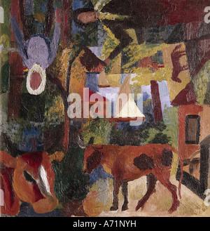 'fine arts, Macke, August, (1887 - 1914), painting, 'Landschaft mit Kühen, Segelboot und Figuren',('landscape with - Stock Photo