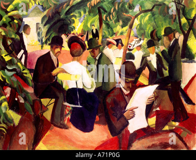 'fine arts, Macke, August, (1887 - 1914), painting, 'Gartenrestaurant', ('garden restaurant'), 1912, oil on canvas, - Stock Photo