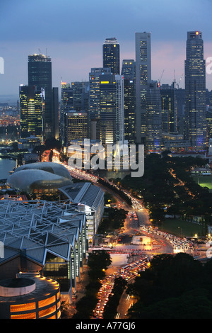SGP Singapore City Skyline - Stock Photo