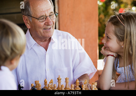 Grandfather with grandchildren - Stock Photo