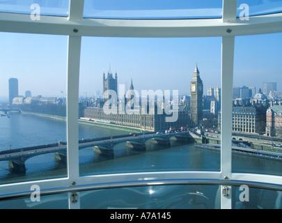 UK London Houses of Parliament Big Ben from British Airways London Eye - Stock Photo