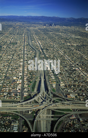 Aerial view of Los Angeles freeways and urban sprawl - Stock Photo