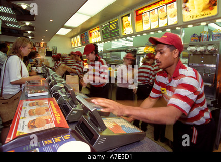Customers at mcdonald 39 s restaurant in a food court at for Mcdonalds norwich ny