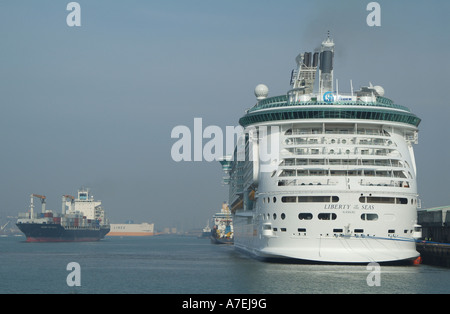 Liberty of the Seas cruise ship docked in the Port of Southampton England UK - Stock Photo