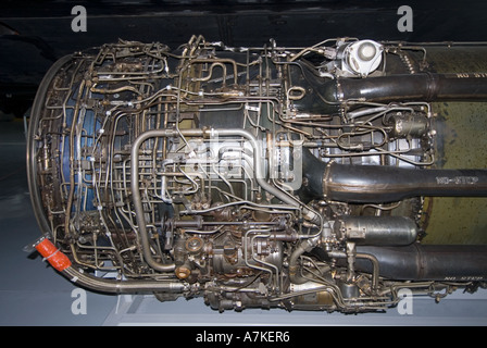 Duxford Imperial War Museum close up of large jet engine - Stock Photo