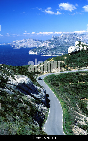 France, Bouches du Rhone, Cassis Rocky inlets, view from the touristic road of Cape Canaille - Stock Photo