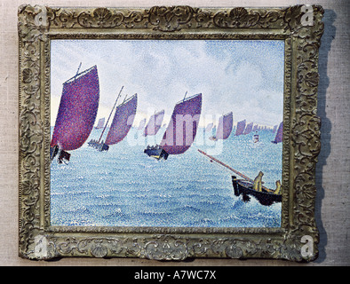 fine arts, Signac, Paul (1863 - 1935), moved sea, painting, 1891, oil on canvas, 66x62 cm, private collection, French, - Stock Photo