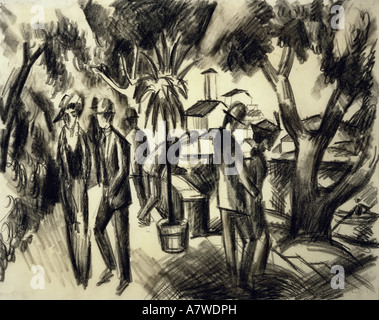 'fine arts, Macke, August (1887 - 1914), 'Spaziergänger im Park', charcoal drawing, 1913, 31x39 cm, Franz Marc Museum, - Stock Photo