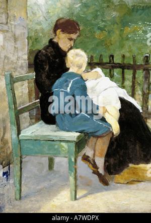 'fine arts, Marc, Wilhelm (1839 - 1907), 'Die Ehefrau des Künstlers und der Sohn Paul', painting, 1880, oil on canvas, - Stock Photo