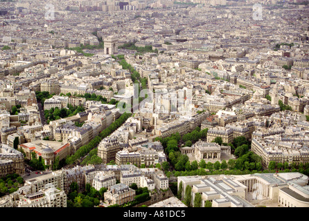 Aerial view of Paris from the Eiffel Tower showing the streets below - Stock Photo