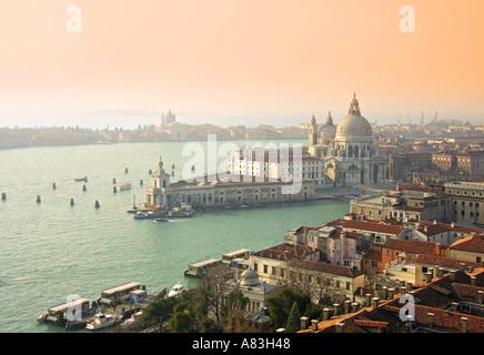 Basilica di Santa Maria della Salute & Grand Canal, Venice, Italy - Stock Photo