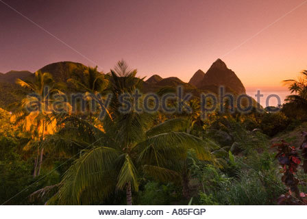 The Pitons at sunset, St Lucia, Windward Islands, Caribbean - Stock Photo