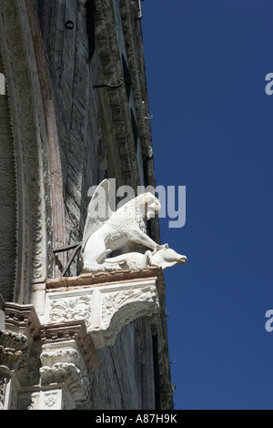 Sculpture on building, low angle view - Stock Photo