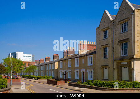 Oxford Street in the Great Western Railway village Swindon workers houses built with stone from Box Tunnel near - Stock Photo