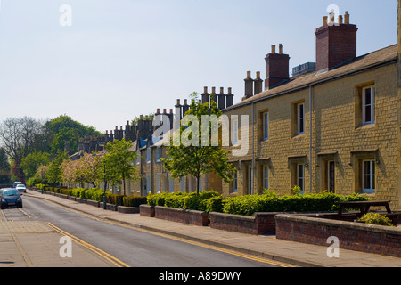 Great Western Railway village Swindon workers houses built with stone from the Box Tunnel near Bath. JMH2869 - Stock Photo