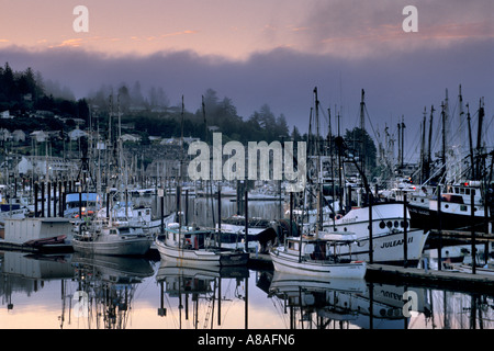 Dawn in newport harbor with yaquina bay bridge beyond for Newport harbor fishing