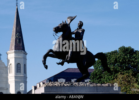 An Equestrian Statue Of General Andrew Jackson Before The