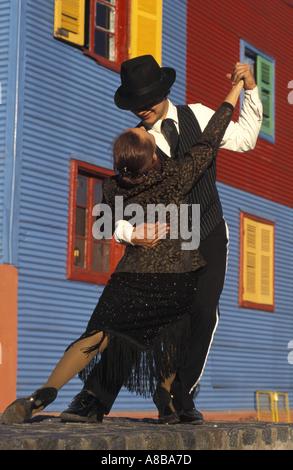 Argentina Buenos Aires La Boca district Calle Caminito Tango dancers - Stock Photo