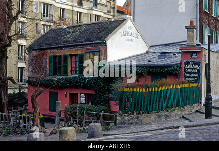 Au Lapin Agile: cabaret began here in 1860; poets and singers still perform here, Montmartre Paris, France - Stock Photo