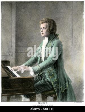 Wolfgang Amadeus Mozart at the keyboard - Stock Photo