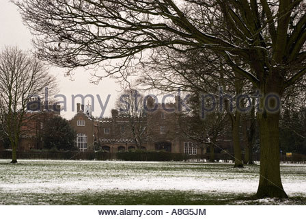 Nonsuch House in the snow,Nonsuch Park Cheam Surrey England - Stock Photo