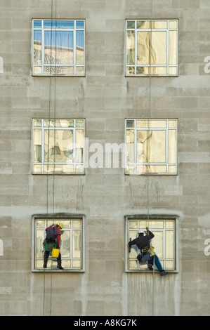 Vertical close up portrait of two window cleaners suspended from ropes high up on an office block. - Stock Photo