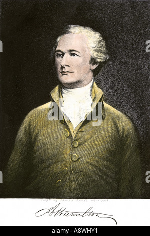 Alexander Hamilton with his autograph - Stock Photo