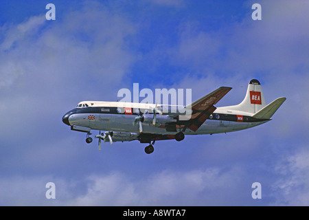 British European Airways BEA Vickers Viscount G-AOYS landing at London Heathrow Airport LHR in 1963. JMH0550 - Stock Photo