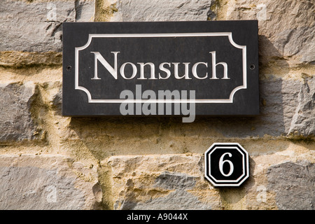Nonsuch House street sign and number 6 Poundbury Dorchester Dorset UK - Stockfoto