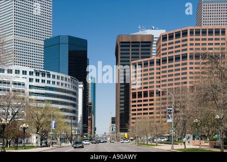 City scene of Denver Colorado looking north on Broadway - Stock Photo