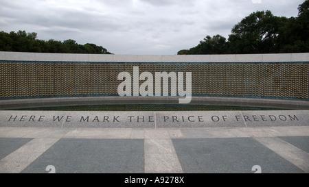 Freedom Wall, National World War II Memorial, Washington DC, USA - Stock Photo