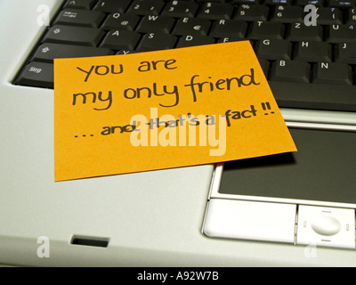 memo note on notebook you are my only friend and that s a fact - Stock Photo