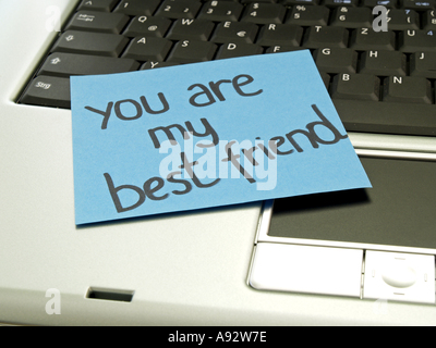 memo note on notebook you are my best friend - Stock Photo
