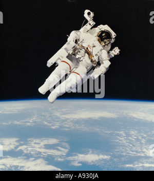 Bruce McCandless II from Space Shuttle Challenger  First use of the Manned Maneuvering Unit (MMU) - Stock Photo