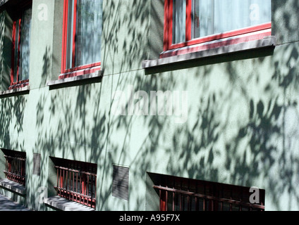 Apartment building with shadows of vegetation on facade, close-up - Stock Photo