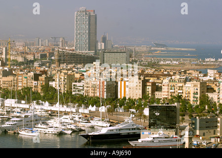 ESP Spain Barcelona harbour Barceloneta skyline teleshot - Stock Photo