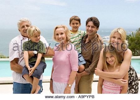 Portrait of a three generation family - Stock Photo