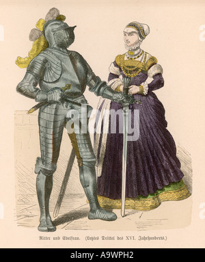 Knight And Lady - Stock Photo