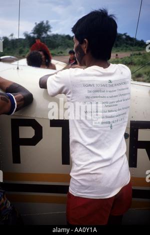 A-Ukre Village, Brazil. Young Kayapo boy with red urucum ...