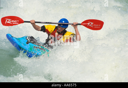 kayaker on the river isar in munich MR Nr 0002 - Stock Photo