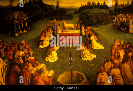 The Adoration of the Lamb f by Hubert van Eyck and Jan van Eyck Cathedral of St Bavon 12th Century Ghent Flanders - Stock Photo