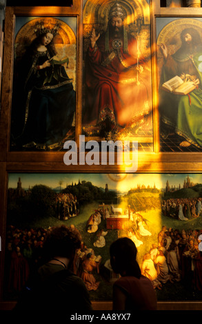 Paintings iin the Cathedral of St Bavon 12th Century Ghent Flanders Belgium - Stock Photo