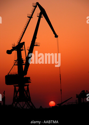 oil pump at afterglow / sunset - Stock Photo